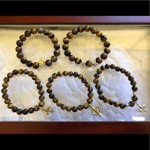 Jewelry - Fleur De Lis Tiger's Eye Stone Bracelet